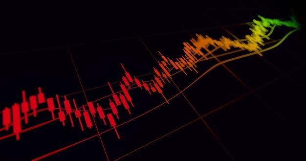 Grafico finanziario con grafico a candele con linea di tendenza in aumento nel mercato azionario su colore nero