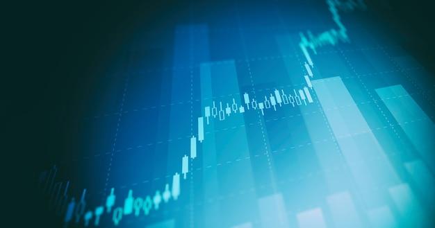 Grafico finanziario con grafico a candele con linea di tendenza in aumento nel mercato azionario su sfondo blu