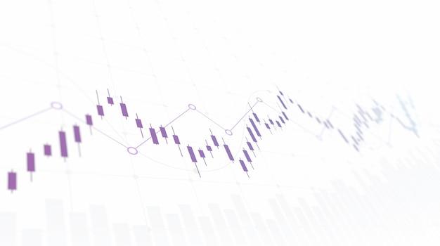 Grafico finanziario con grafico a candele con linea di tendenza in aumento nel mercato azionario su sfondo di colore bianco