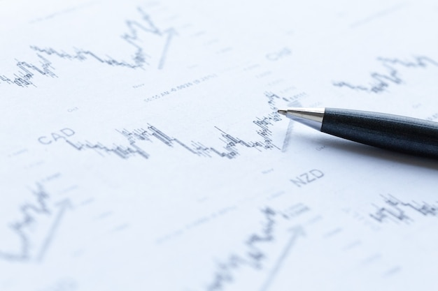 Penna e analisi di grafici finanziari.