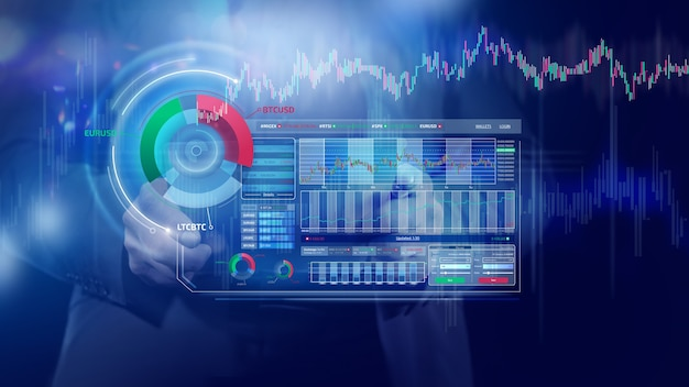 Infografica olografica finanziaria sul mercato azionario