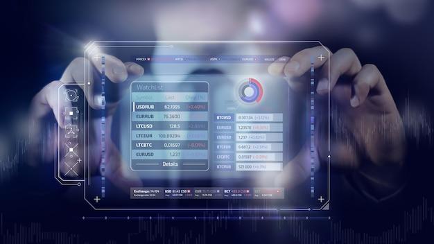 Infographics olografico finanziario sul commercio di azioni