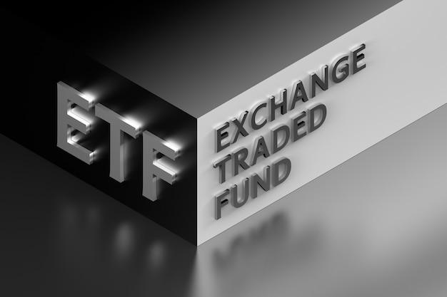Illustrazione finanziaria con l'abbreviazione etf in piedi per exchange traded fund disposti su un angolo in colori grigi. illustrazione 3d.