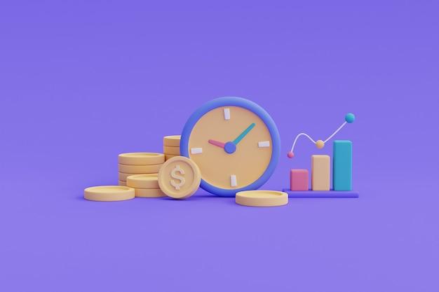 Investimenti finanziari concetto di crescita del reddito futuro, crescita delle risorse nel tempo, pila di monete, rendering grafico.3d.