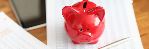 La relazione finanziaria e il salvadanaio di maiale rosso sono sul concetto di detrazioni fiscali mensili da tavolo