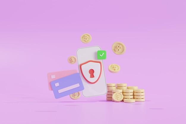 Sicurezza finanziaria, protezione dei pagamenti online, transazioni online, servizi bancari online e acquisti online, concetto di risparmio di denaro. banca di telefonia mobile. portafoglio elettronico, monete, carta di credito, illustrazione 3d
