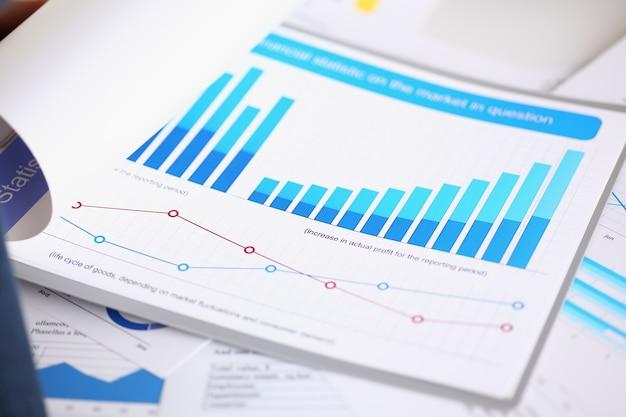Documenti di statistiche finanziarie sul blocco per appunti al primo piano della tabella dell'ufficio