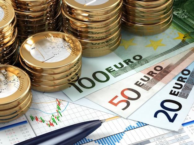Concetto finanziario del mercato azionario. banconote e monete in euro. 3d
