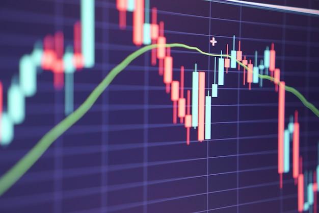 Grafico del mercato azionario finanziario. borsa valori. messa a fuoco selettiva.