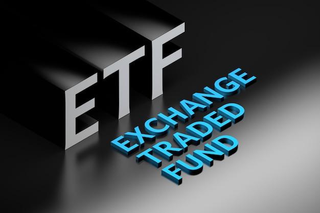 Abbreviazione del termine finanziario etf in piedi per exchange traded fund organizzato in stile isometrico. illustrazione 3d.