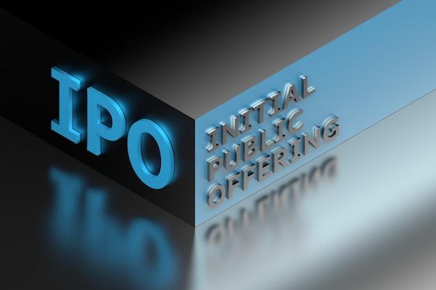 Abbreviazione del termine finanziario ipo che sta per offerta pubblica iniziale sull'angolo del cubo blu. illustrazione 3d.