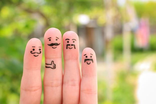 Arte del dito di uomini felici con i baffi.