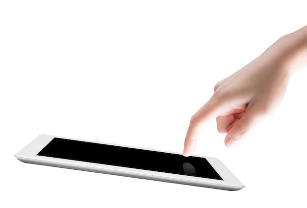 Punto del dito sullo schermo del tablet isolato su bianco