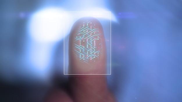 Dito che preme il vetro con il design dell'impronta digitale personale su sfondo blu sfocato