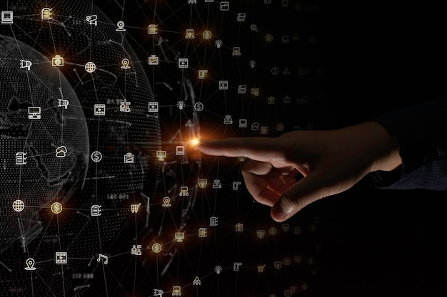 Tocco del dito su uno sfondo di connessione di rete dati digitale