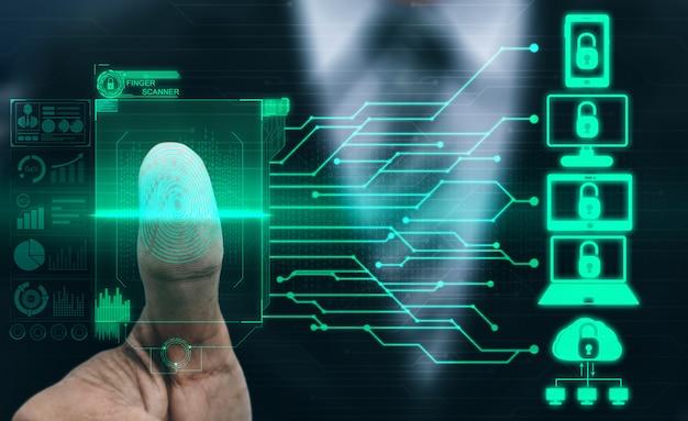 Tecnologia di scansione digitale biometrica per impronte digitali.