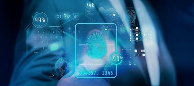 Interfaccia di identificazione delle impronte digitali in realtà aumentata.