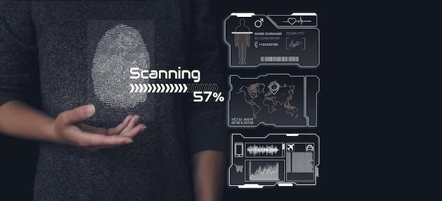 Impronta digitale per identificare il concetto di sistema di sicurezza personale. interfaccia del sistema di identificazione