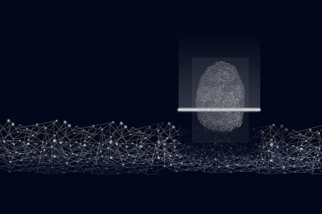 Impronta digitale per identificare personale su sfondo blu scuro, concetto di sistema di sicurezza. identificazione