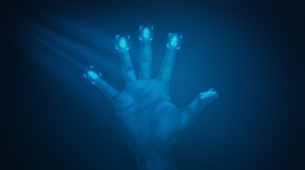 La scansione delle impronte digitali fornisce un accesso sicuro. illustrazione 3d