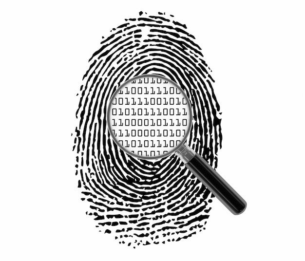 Impronta digitale con lente di ingrandimento e codice binario