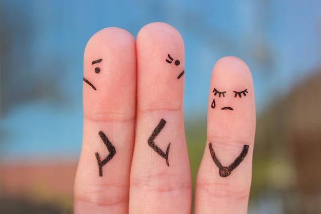Arte delle dita delle coppie dopo una discussione che guarda in direzioni diverse. idea di famiglia durante il conflitto. concetto di litigio dei genitori, il bambino era arrabbiato.