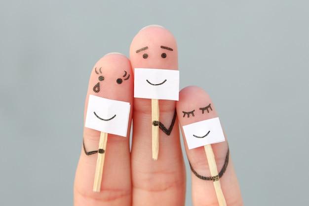 Dita arte della famiglia. concetto di persone che nascondono emozioni.