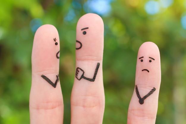 Arte delle dita della famiglia durante il litigio. concetto di litigio dei genitori, il bambino era arrabbiato.