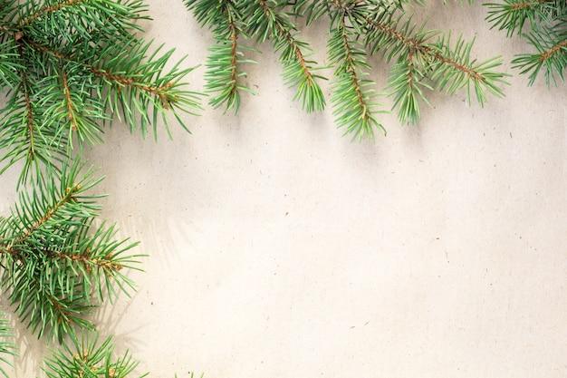 Bordo di rami di abete su sfondo rustico chiaro, ottimo per sfondo natalizio.