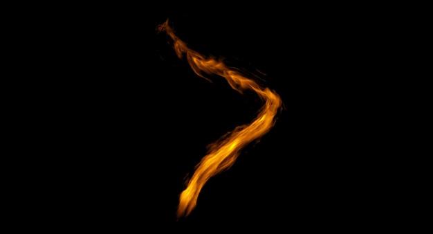 Disegno del fuoco su sfondo nero. avvicinamento