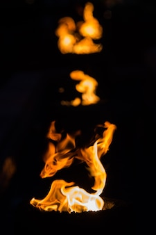 Fiamme del fuoco su uno sfondo nero