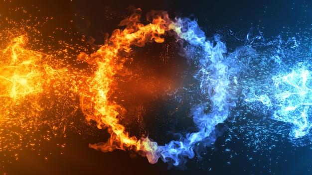 Illustrazione 3d di concetto di fuoco e ghiaccio foto premium
