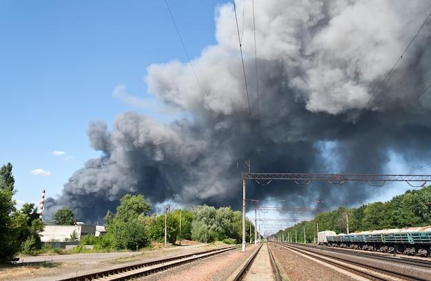 Incendio vicino alla stazione ferroviaria brovary