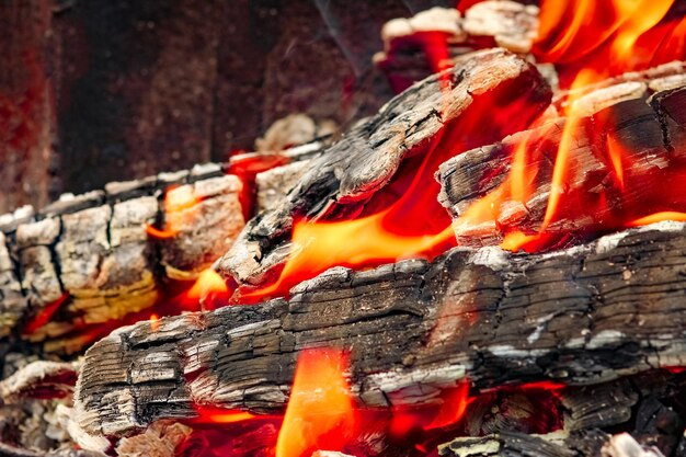 Un fuoco con carboni. ustioni