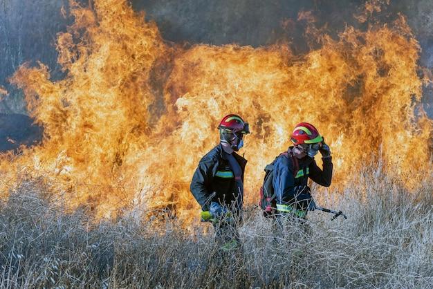 I vigili del fuoco cercano di spegnere l'incendio
