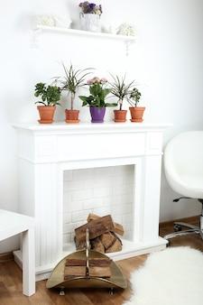 Camino con bellissime decorazioni in confortevole soggiorno
