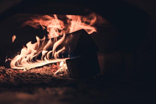 La legna da ardere brucia in una stufa domestica