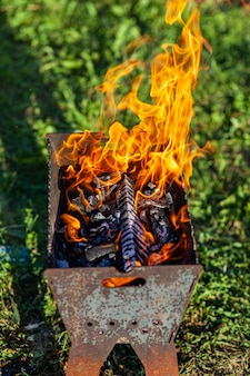 La legna da ardere nella griglia brucia con una fiamma di fuoco arancione brillante su uno sfondo verde naturale. preparazione per la cottura della carne alla griglia in natura. fiamme di fuoco e fumo