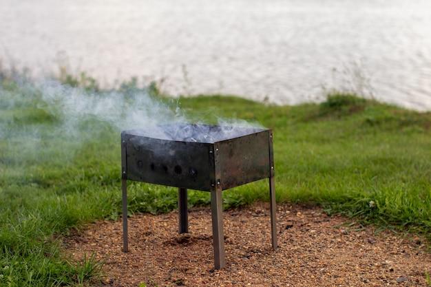 La legna da ardere nella griglia brucia con una fiamma di fuoco arancione brillante su uno sfondo verde naturale