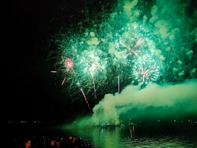 Fuochi d'artificio nel cielo di notte in colori verdi - celebrazione delle vacanze
