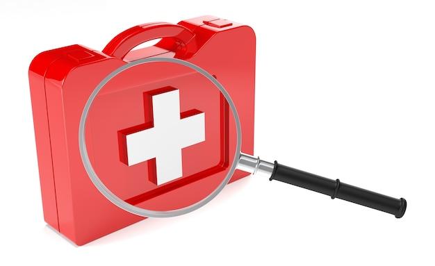 Caso di pronto soccorso e lente di ingrandimento su sfondo bianco. immagine 3d isolata