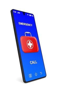 Cassetta di pronto soccorso e telefono su sfondo bianco. illustrazione 3d isolata