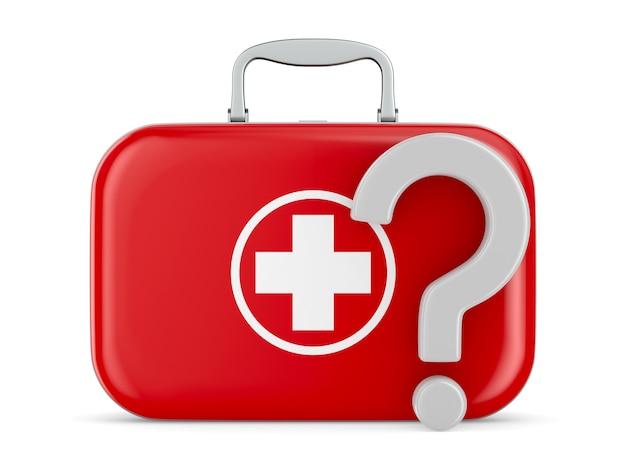 Kit di pronto soccorso e domanda su sfondo bianco. illustrazione 3d isolata