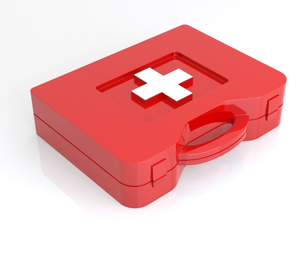 Kit di pronto soccorso su sfondo bianco. immagine 3d isolata