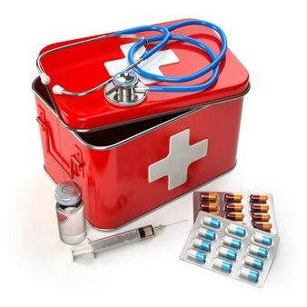 Kit di pronto soccorso con stetoscopio, pillole e siringa sul tavolo. 3d