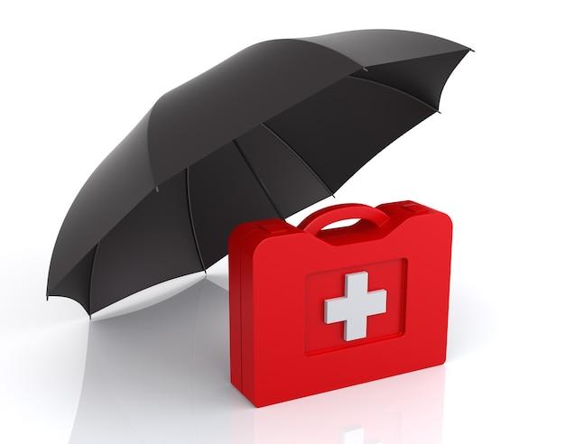 Kit di pronto soccorso con ombrello. sfondo bianco isolato