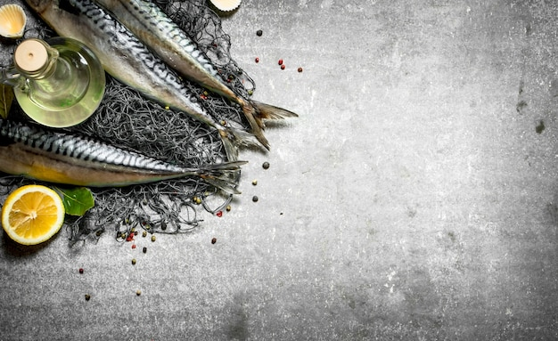 Pesce con olio d'oliva su una rete da pesca. sul tavolo di pietra.