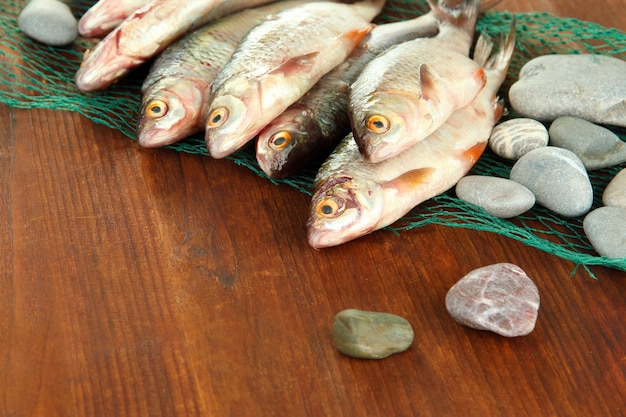 Pesci sulla rete da pesca su fondo di legno