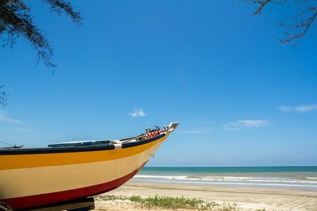 Una barca da pesca sotto alcuni alberi vicino alla spiaggia