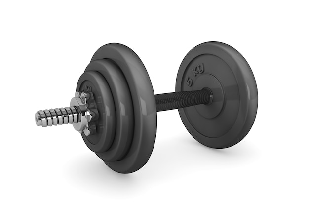 Peso del manubrio dell'attrezzatura di esercizio di forma fisica su un fondo bianco